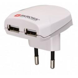 Ładowarka sieciowa USB Euro Skross biała
