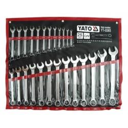 YT-0365 Klucze płasko-oczkowe z polerowaną główką kpl 6-32, 25 cz.