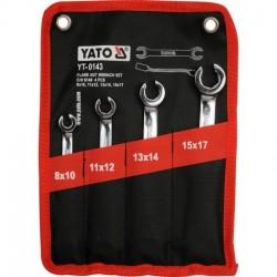 YT-0143 Klucze oczkowe półotwarte, płaskie, 8-17 mm, kpl. 4 szt.