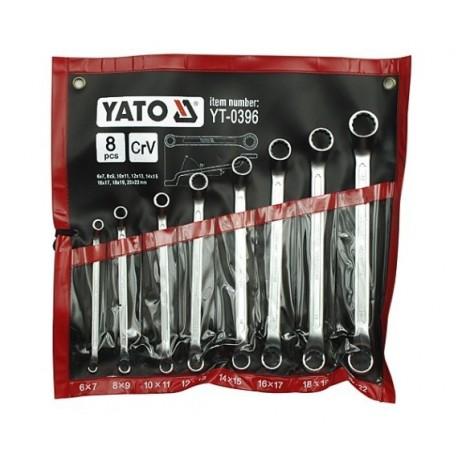 YT-0396 Klucze oczkowe odgięte z polerowaną główką kpl 6-22 mm, 8 cz.