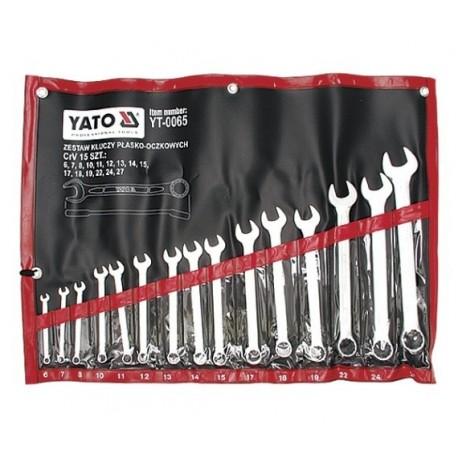 YT-0065 Klucze płasko-oczkowe, satynowe kpl 6-27, 15 cz.