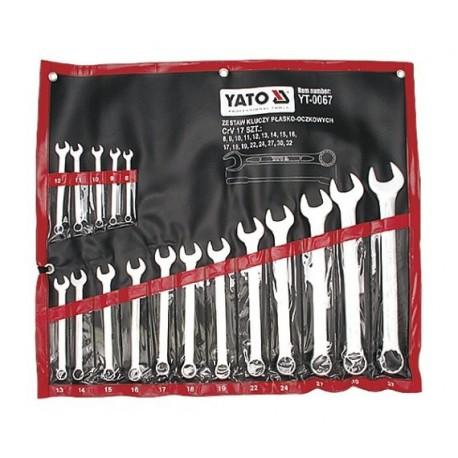 YT-0067 Klucze płasko-oczkowe, satynowe kpl 8-32, 17 cz.