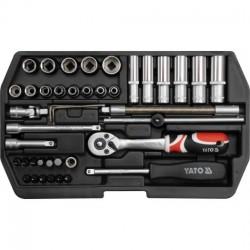 YT-1448 Įrankių rinkinys 1/4 colio, kpl. 42 vnt., xs