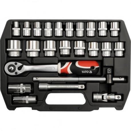 YT-3872 Įrankių rinkinys 1/2 colio, kpl. 24 vnt., m