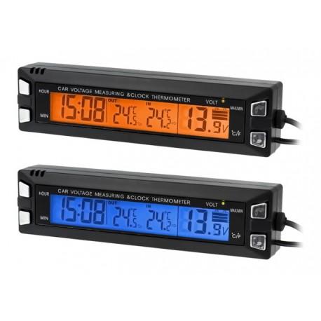 AG97 Automobilio termometro laikrodžio voltmetras 3in1
