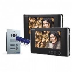 """Zestaw wideodomofonowy 2-rodzinny bezsłuchawkowy, kolor, LCD 7"""", z czytnikiem breloków zbliżeniowych, podtynkowy, ARX MULTI P"""