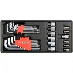 YT-55451 Hex raktai, torx, torx dangteliai - 31 dalių rinkinys