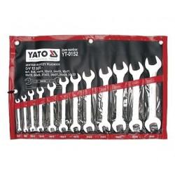 YT-0152 Klucze płaskie, satynowe, 6-32 mm, komplet - 12 sztuk