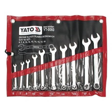 YT-0060 Klucze płasko-oczkowe, satynowe, komplet 6-19mm, 10 części