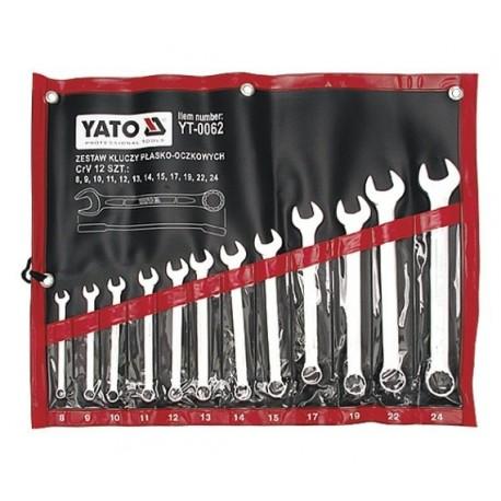 YT-0062 Klucze płasko-oczkowe, satynowe, komplet 8-24mm, 12 części