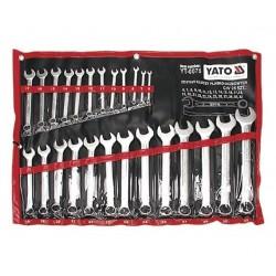 YT-0075 Klucze płasko-oczkowe, satynowe, komplet 6-32mm, 25 części