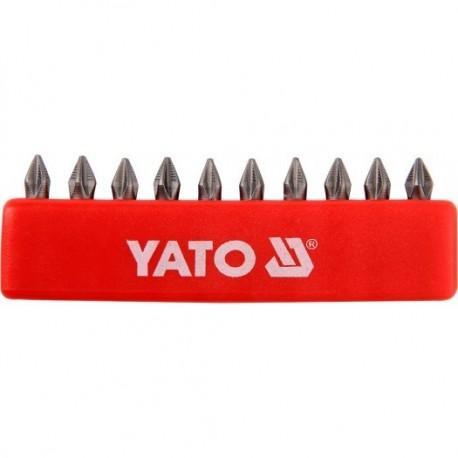 YT-0474 Końcówki wkrętakowe ph1x25 mm, komplet 10 sztuk