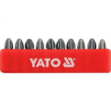 YT-0476 Końcówki wkrętakowe ph3x25 mm, komplet 10 sztuk