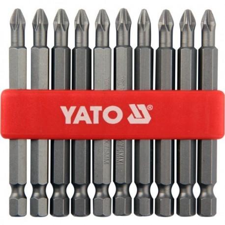 YT-0480 Końcówki wkrętakowe ph2x75 mm, komplet 10 sztuk
