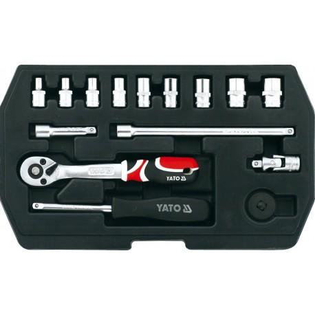 """YT-1444 Zestaw narzędziowy 1/4"""", 15 części, XS"""