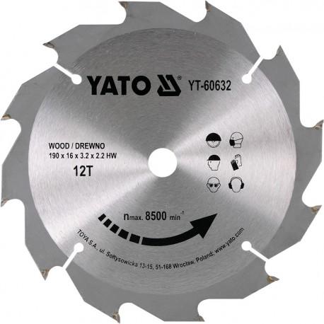 YT-60632 Piła tarczowa z węglikiem 190x12x16 mm