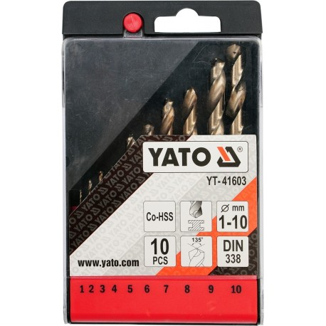 YT-41603 Metalų grąžtų komplektas co-hss 10 vnt.
