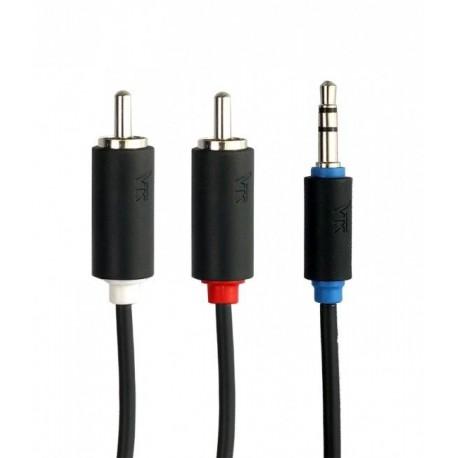 7200-300 Balso Kraft 7200 3m 2 rca kabelis - prijunkite 3.5mm juodą garsą