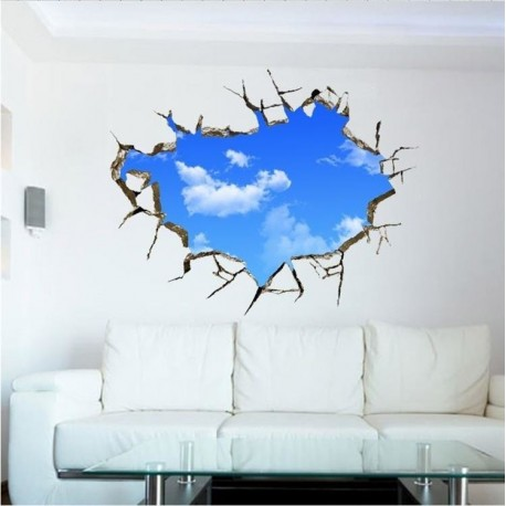 AG543 Mėlynas dangus 3D sienos lipdukas