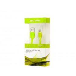 66-064 Przyłącze USB A - micro USB B zielony płaski