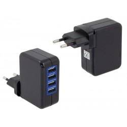 PLP47B Ładowarka sieciowa 4 x USB / czarna