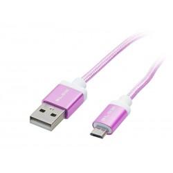 66-092 Przyłącze USB A - micro B 1m plecionka różowa