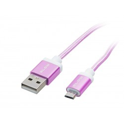 66-092 USB jungtis A - micro B 1m rožinė juosta