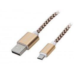 66-098 Przyłącze USB A - micro B 1m plecionka- złota