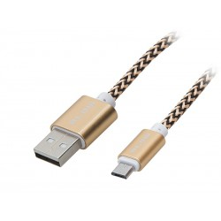 66-098 USB jungtis A - mikro B 1m nerijos aukso