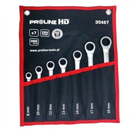 35487 Klucze oczkowo-płaskie, grzechotka 7 elementów.(8-19mm),CV, ProlineHD