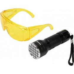 82756 UV 21 led žibintuvėlių rinkinys ir akiniai