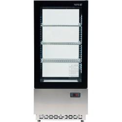 YATO laisvai stovinti šaldymo vitrina, kurios talpa 78L, juoda, matmenys 430x390x986mm.