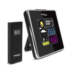 Belaidė meteorologinė stotis IN / OUT temperatūros drėgmė USB įkroviklis GreenBlue GB142 juodas