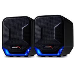 """6W USB mėlynos ir """"amp"""" juodos """"Audiocore AC865 B"""" kompiuterio kolonėlės"""