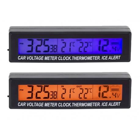 AG97A Termometr zegar woltomierz 3w1