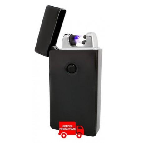 Juodas plazmos žiebtuvelis + USB kabelis 2 lenkiasi juodas 5057