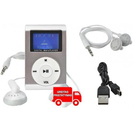 """MP3 grotuvas USB 2.0 """"Micro SD"""" lizdas iki 32GB LCD ekranas Juodasis sidabro rožinis melynas 6609"""
