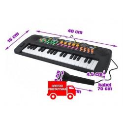 Elektronine Vaiku klaviatura + mikrofono radijas 37 klavišai Melodijos tonai Baterijos veikimas 6722