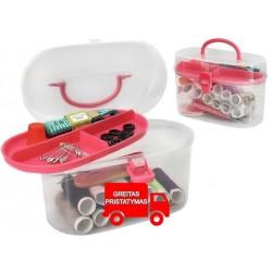 Siuvimo rinkinys Siuvimo reikmenys Siuvimo dežute 43 vienetai Universalus plastikinis deklas su stalčiu