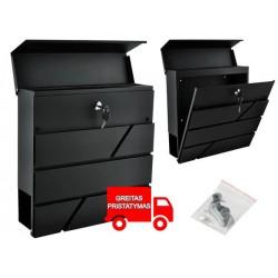 Letterbox antracitas 2 raktai saugumo atvartas lengvai surinkti 6238
