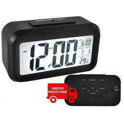 Žadintuvas LED ekranas 12 / 24h Signalizacijos temperaturos data 3xAAA juoda / balta 6583