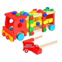 "Sunkvežimis ""Hammer Screw"" žaislas ""Wood Plastic Knock Bench Construction Car"" 6580"