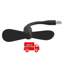 """Nešiojamasis vejo maluno """"Pinwheel"""" mini USB ventiliatorius juodas 8096"""