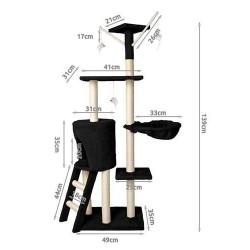 Cat Scratching Post su Sisal stulpeliais Žaidimo filialai Laipiojimo remas Sturdy Climbing Tree 138 cm pilka / smelio / ruda / r