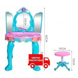 Tualetinis staliukas mergaitems Vaikams Nuotolinio valdymo pultas MP3 Mirror Blue 8488