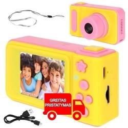Mini skaitmenine kamera 1080P HD vaizdo kamera, ikraunama 2 coliu LCD ekrano dovanu žaislas berniukams ir mergaitems, rožine / m