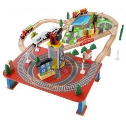 Medinis traukinio begiu kelias Mediniu žaislu rinkinys 88 vnt. Vaiku mokomieji aksesuarai 9363