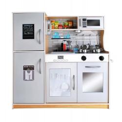 Vaiku virtuves mediniai aksesuarai - šviesios ir garsines virtuves reikmenys