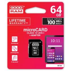 """64 GB UHS-I """"Goodram"""" """"microSD"""" atminties kortelė su adapteriu"""