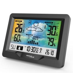 Spalvota belaidė meteorologinė stotis su DCF GreenBlue GB540 sistema, mėnulio fazėmis, barometru, kalendoriumi
